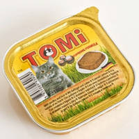 Консервы для кошек, паштет,TOMi ПТИЦА ПЕЧЕНЬ (poultry, liver), 100гр.
