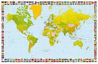 Карта мира  фотообои в кабинет с  рамкой флагами размер 115 х 175 см