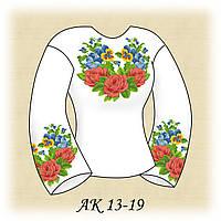 Заготовка женской сорочки для вышивания АК 13-19 Розы и Анютины Глазки
