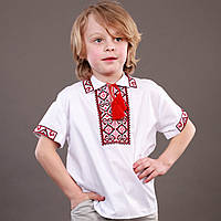 Вышиванка для мальчика с красной вышивкой на короткий рукав