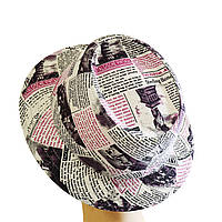 Женская Панама Комби Бордовая Газета  стильная, модная, летняя, кра