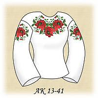 Заготовка женской сорочки для вышивания АК 13-41 Роскошь Маков габардин, льняной
