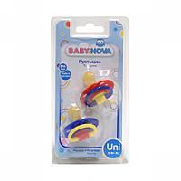 BABY-NOVA Пустышка круглая трехцветная из латекса (2 штуки в блистере)