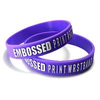 Силиконовый браслет с тиснением логотипа наружу+заливка краской 100-299 шт