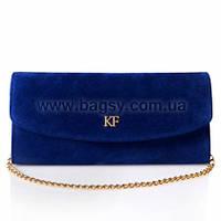 Женский кожаный клатч Katerina Fox синего цвета из натуральной замши (KF-271)