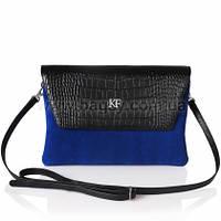 Женская кожаная сумка через плечо Katerina Fox синего цвета из натуральной замши (KF-277)
