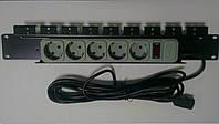 """Универсальный сетевой фильтр 5 розеток 1,5U 19"""", кабель 4,5м"""