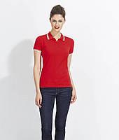 Женская футболка-поло с контрастными полосками на воротнике и рукавах PASADENA WOMEN Sols, фото 1