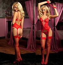 Красный кружевной комплект (боди+наручники+стринги), фото 2