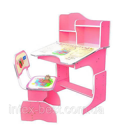 Детская парта со стульчиком HB-2071-02 синяя, розовая, салатовая.