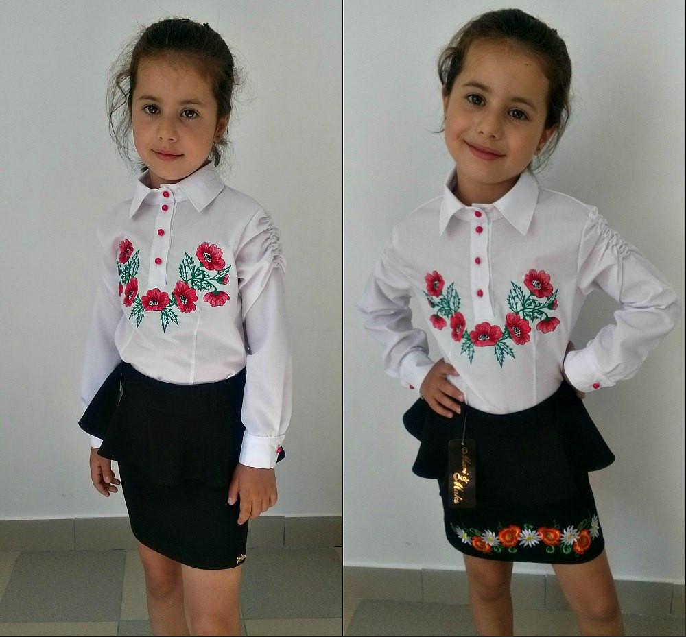 Блузка детская с вышивкой маками на груди - Евро-Топ в Киеве