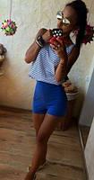 Трендовые женские шорты прилегающего фасона с завышенной талией бистрейч