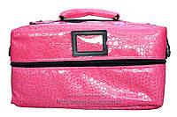 Профессиональный кейс для косметики с вынимающимся органайзером. Розовый лак,кожа крокодила