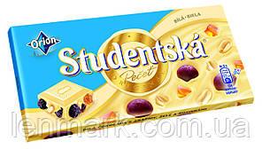 Белый шоколад  Studentska «Biela» с арахисом, изюмом и цитрусовым желе, 180 г