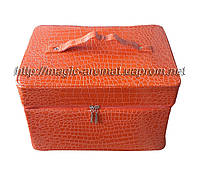 Сумка-чемодан для мастеров маникюра и педикюра, большой вместительный кейс для визажиста, оранжевый лаковый