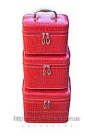 Кейс для косметики и украшений лаковый 3 в 1, малиновый