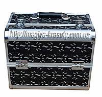Алюминиевый кейс для косметики, цвет- черный узор