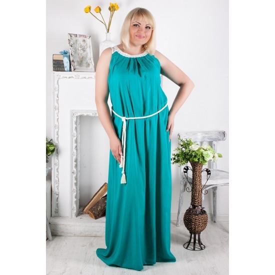 Бирюзовое платье длинное батальные размеры из поплина