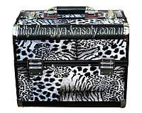 Алюминиевый Exclusive Beauty Case с выдвижными нишами, черный леопард., фото 1