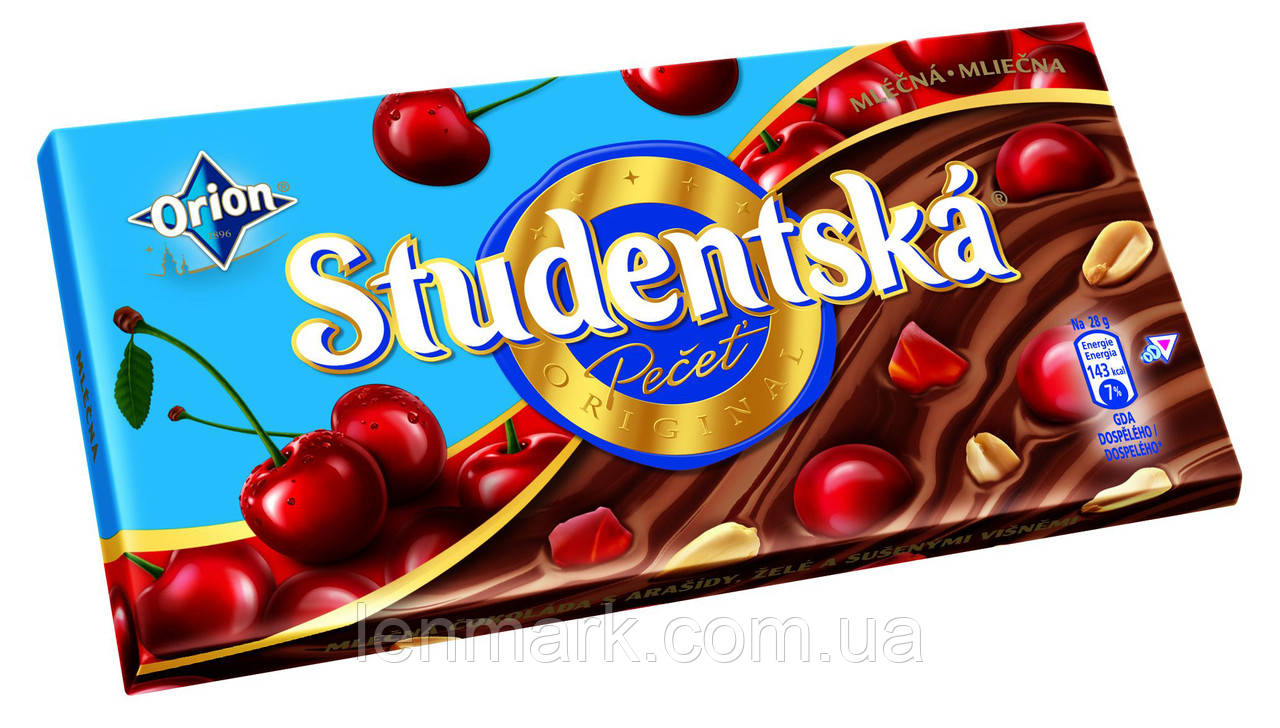 Молочный шоколад Studentska «Mlecna» с арахисом, желе и вяленой вишней, 180 г