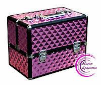 Профессиональный кейс для косметики, раздвижной, розовый