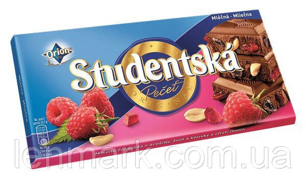 Молочный шоколад  Studentska «Mlecna» с арахисом, желе и малиной, 180 г