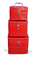 Кейс для косметики и украшений лаковый 3 в 1, красный