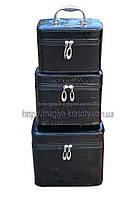 Кейс для косметики и украшений лаковый 3 в 1, черный