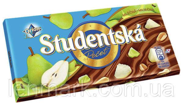 Молочный шоколад Studentska «Mlecna» с арахисом, желе и грушей,180 г