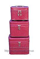 Кейс для косметики и украшений лаковый 3 в 1, фиолетовый лаковый
