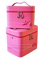 Кейс для косметики и украшений с бантиком  2 в 1 малиновая