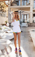 Оригинальный летний женский комбинезон с шортами с яркой разноцветной отделкой лен
