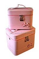Кейс для косметики и украшений с бантиком 2 в 1, розовая