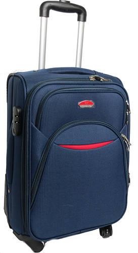 Практичный малый тканевый 4-колесный чемодан 32 л. Suitcase 013753-blue синий