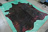 Коров'яча шкіра чорна з фарбуванням у червоно-малиновий колір в Україні, фото 4