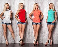 Летняя женская блуза с жабо №369 (р.42-52)