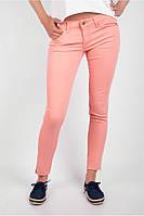Легкие узкие брюки из хлопка Персик