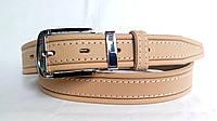 Кожаный ремень 35 мм бежевого цвета пряжка комбинированая хром с чёрными вставками классическая овальная