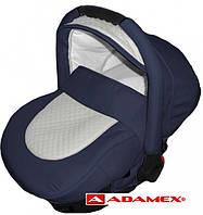 Детское автокресло Adamex CARLO 710 S темно синий - белая перфорированная кожа , фото 1