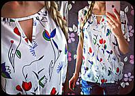 """Рубашка женская из креп-шифона с коротким рукавом """"Фостер"""""""