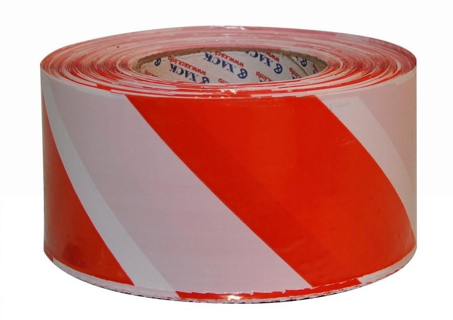 Лента оградительная (сигнальная) 500 м красно-белая (ширина 70 мм)