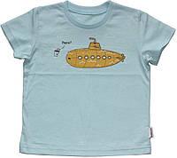 Футболка для мальчика, голубая, рисунок подводная лодка, рост 92 см, Robinzone
