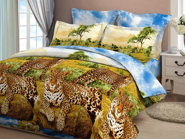 """Полуторный комплект постельного белья """"Леопарды"""""""