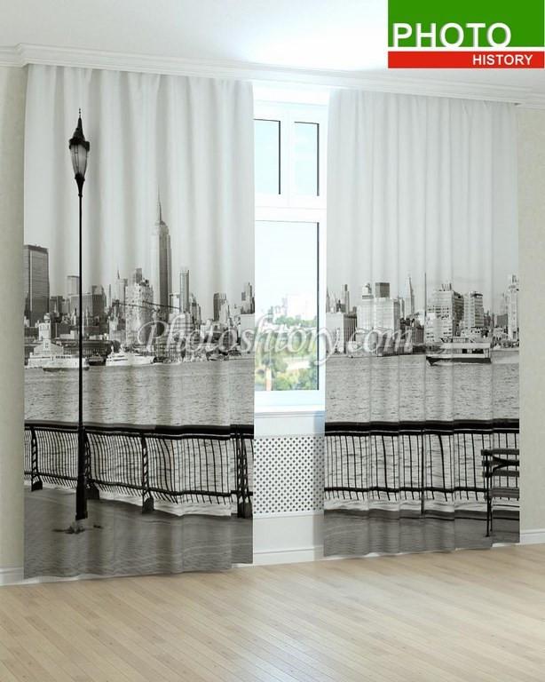 Фотошторы чорно-біла набережна 3D