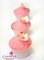 Капкейки мастичные в розовом цвете