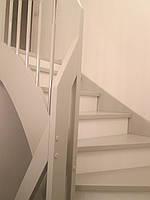 Лестница из массива дерева, в патине, цвет пыльная роза/слоновая кость/ваниль, фото 1