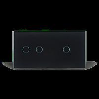 Сенсорный проходной выключатель на 3 канала Livolo   черный, стекло