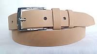 Кожаный ремень 35 мм бежевого цвета пряжка хромированная классическая квадратная
