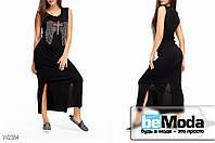 Красивое женское длинное платье Glorymax Cross Black с разрезами по бокам и украшением со стразами на груди черное