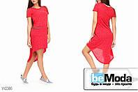 Модное женское трикотажное платье Glorymax Gucci Red с ассиметрией по краю низа и карманами на бедрах красное